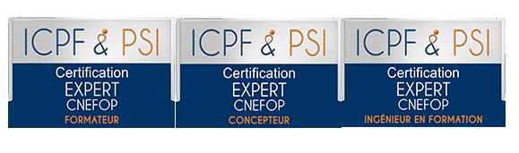 ICPF certification, les logos de Formateur, concepteur et ingénieur en formation